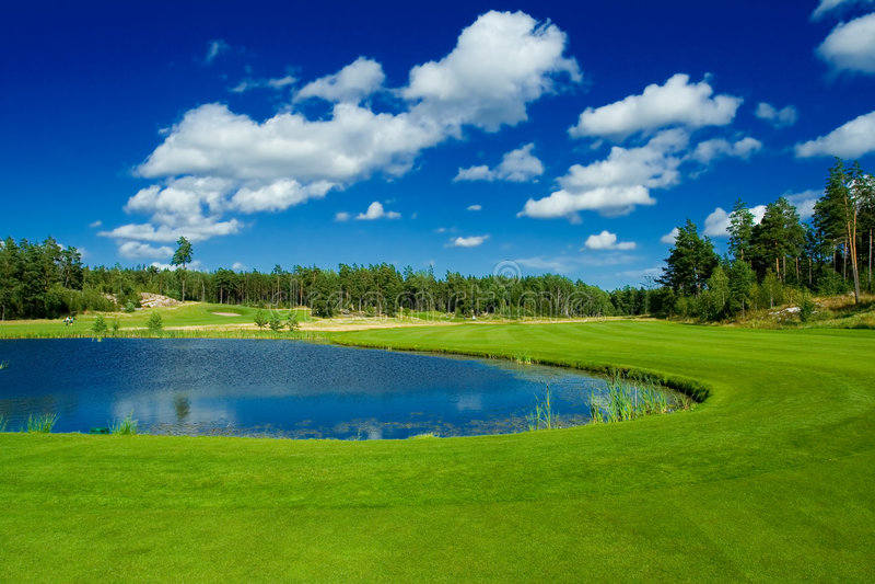 Golffahrrinne entlang einem Teich stockfotos
