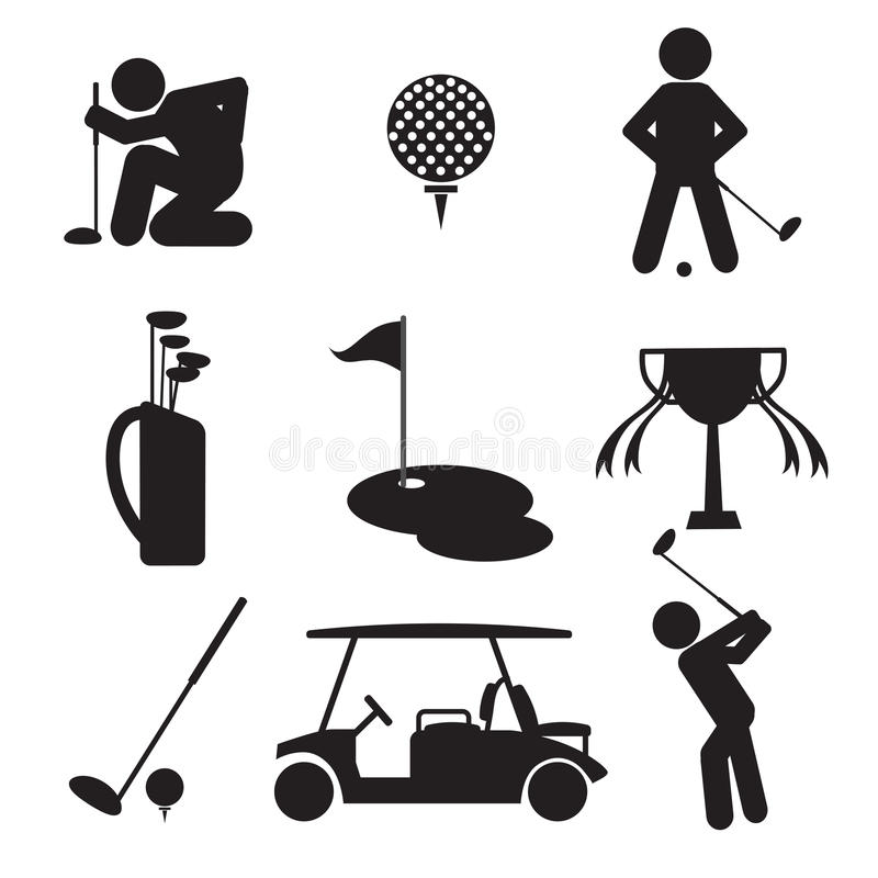 Golfflagge, Golfball und Golfstock stock abbildung