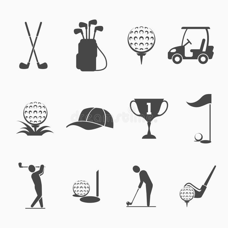 Golfflagge, Golfball und Golfstock lizenzfreie abbildung