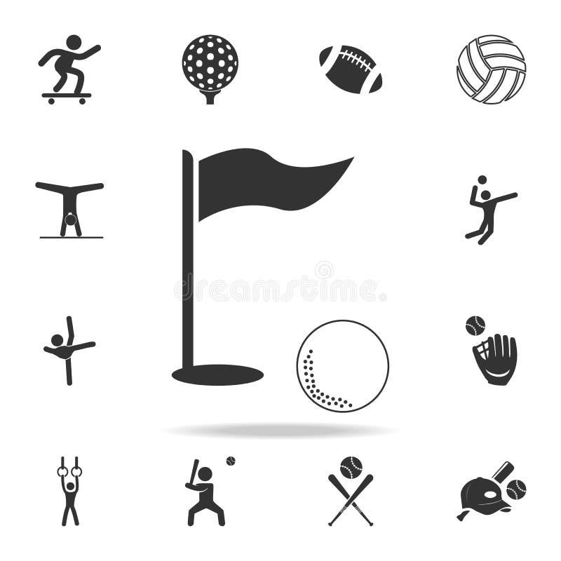 Golfflagge und Golfballikone Ausführlicher Satz Athleten- und Zubehörikonen Erstklassiges Qualitätsgrafikdesign Ein des collectio vektor abbildung