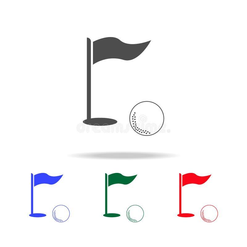 Golfflaggen- und -Golfballikonen Elemente des Sportelements in den multi farbigen Ikonen Erstklassige Qualitätsgrafikdesignikone  stock abbildung