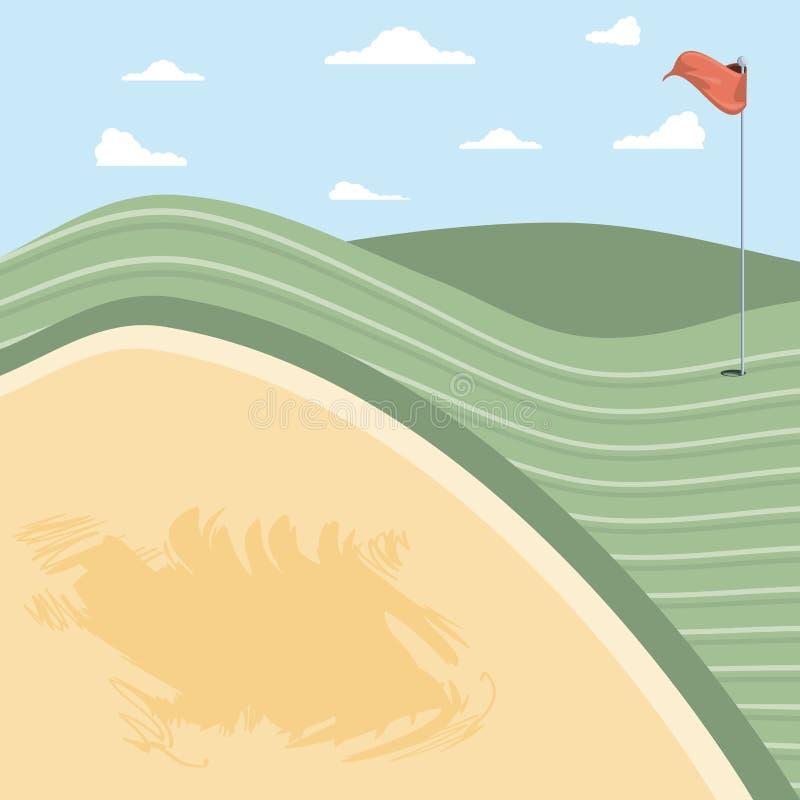 Golffluch mit Sandfang stock abbildung