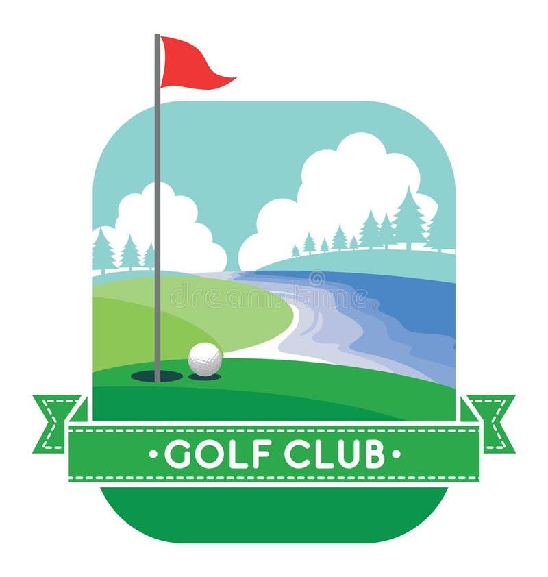 Golfgård med baner- och textutrymme royaltyfri illustrationer
