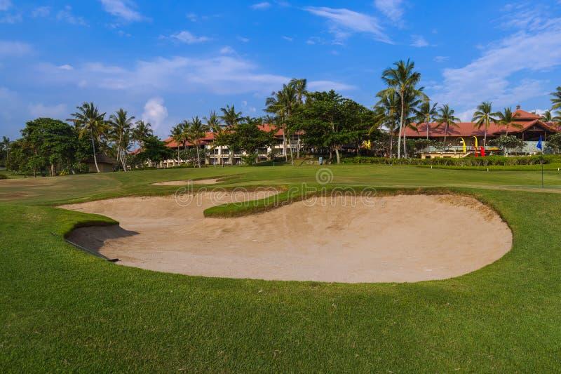 Golfgebied dichtbij Tanah-Partijtempel - Bali Indonesië stock afbeelding