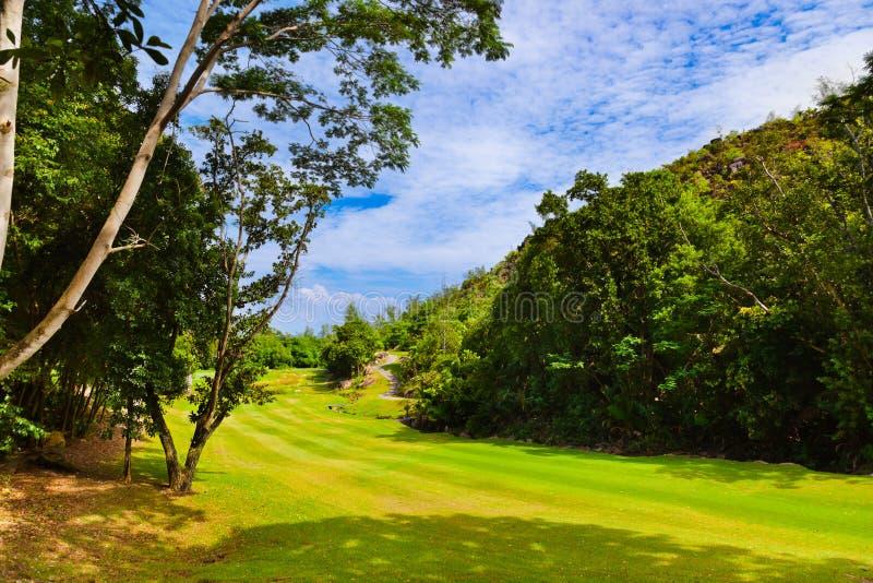 Golfgebied - eiland Praslin Seychellen royalty-vrije stock fotografie