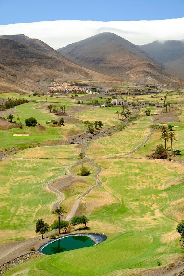 Golfgebied op Fuerteventura, Spanje royalty-vrije stock fotografie