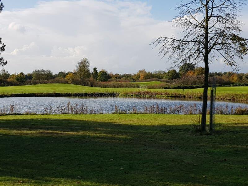 Golfgolfbanafarleder och gräsplaner royaltyfri fotografi