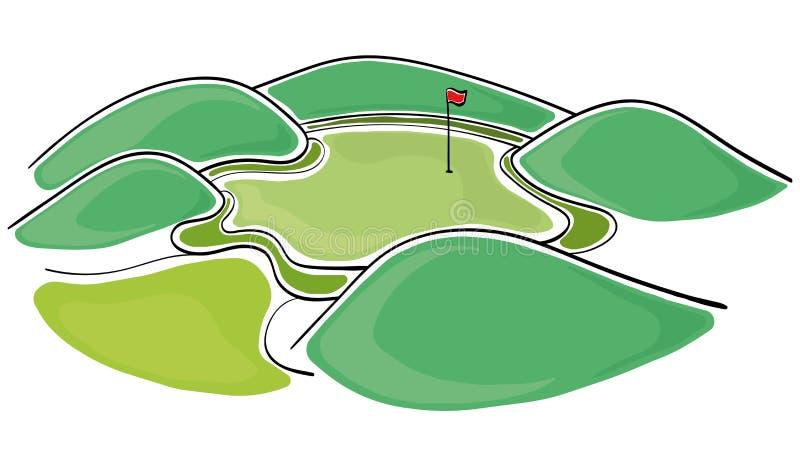 Golfgräsplan vektor illustrationer