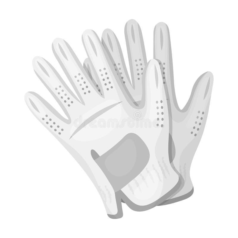 Golfhandschoenen Golfclub enig pictogram in het zwart-wit Web van de de voorraadillustratie van het stijl vectorsymbool stock illustratie