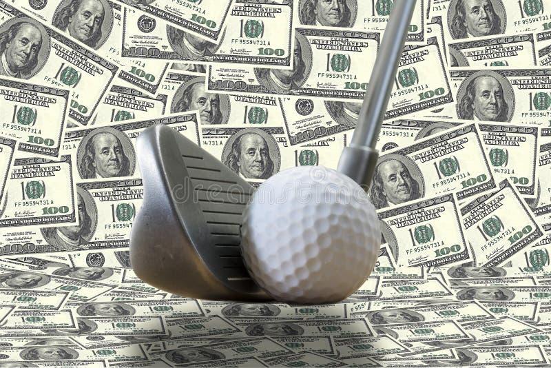 Golfijzer, een golfbal en ons dollars stock afbeeldingen