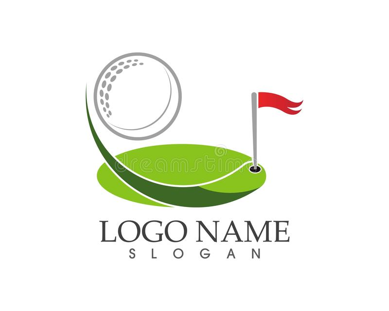 Golfikonenlogodesign-Vektorillustration stock abbildung