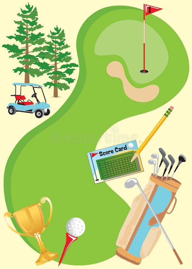 golfinbjudanaffisch vektor illustrationer