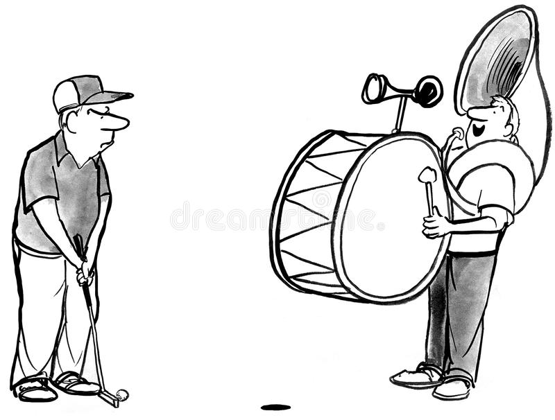 Golfing Distraction. B&W illustration of a disgruntled golfer trying to putt while a one man band is playing music beside him vector illustration