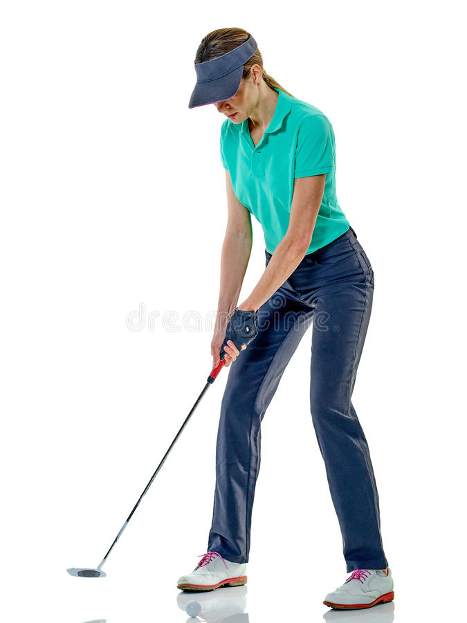 Golfing do jogador de golfe da mulher isolado fotografia de stock royalty free