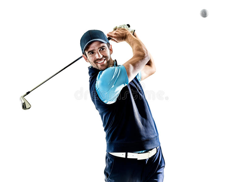Golfing do jogador de golfe do homem isolado com fundo fotos de stock