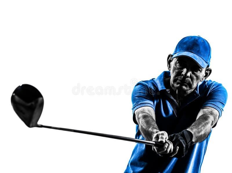 Golfing Het Portretsilhouet Van De Mensengolfspeler Royalty-vrije Stock Afbeelding