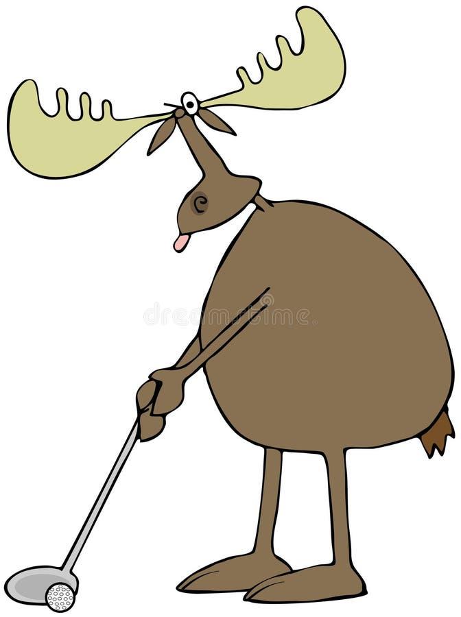 Golfing moose stock illustration
