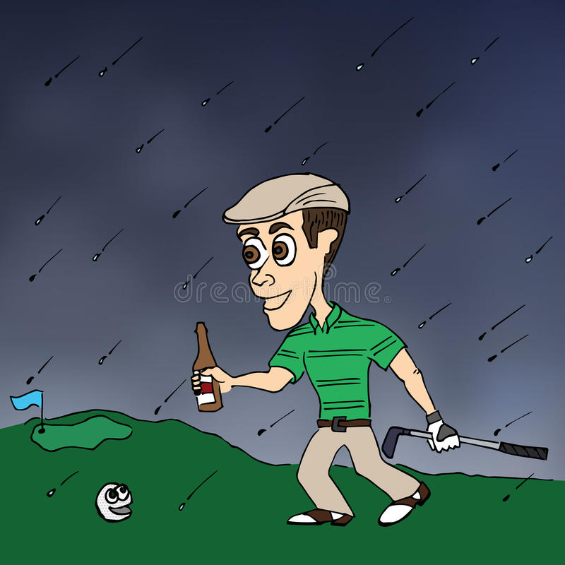 Golfing Weather. A golfer happily strides forward with beer in hand despite the falling rains vector illustration