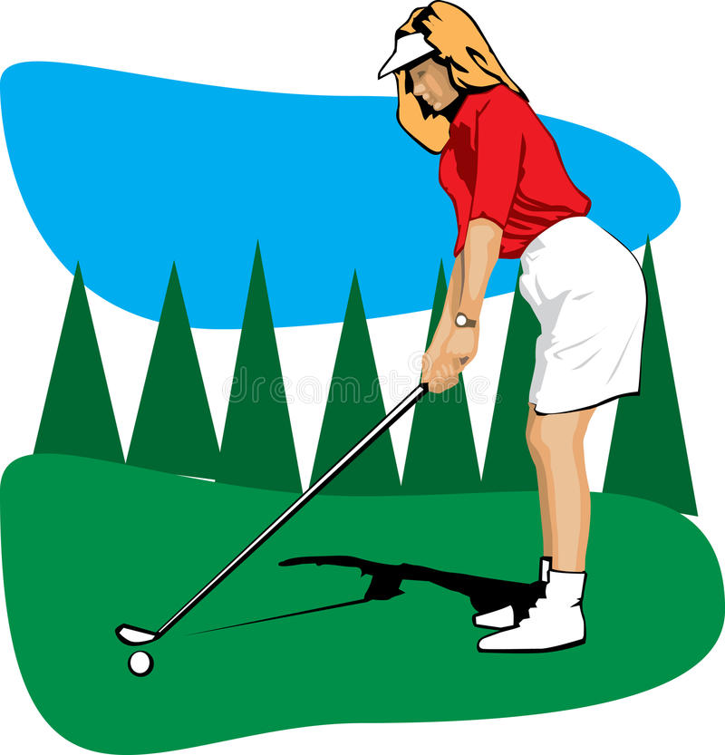 Golfing woman stock photo