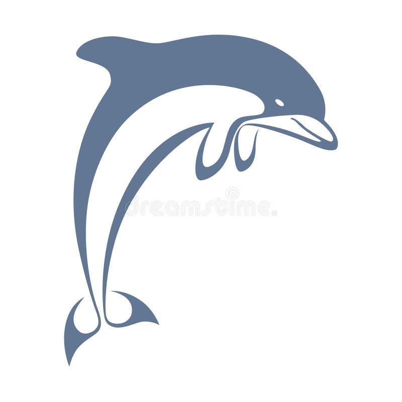 Golfinho azul do salto do sinal ilustração do vetor