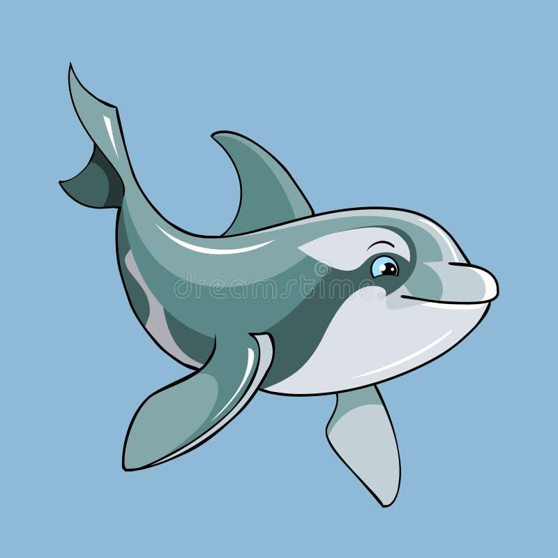 Golfinho bonito dos desenhos animados ilustração do vetor
