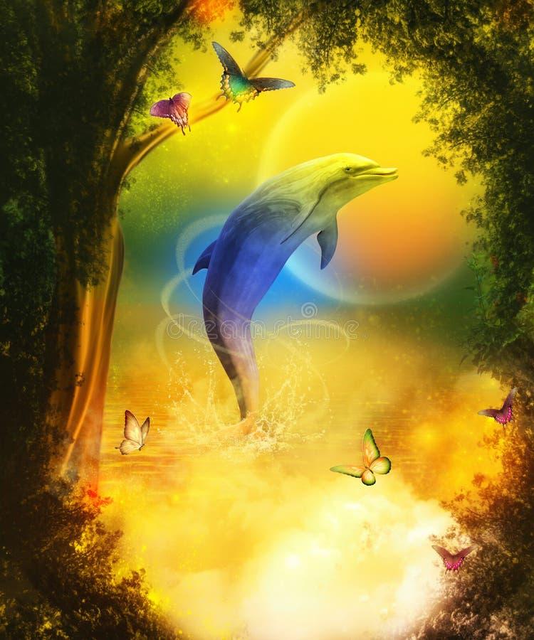 Golfinho colorido ilustração royalty free