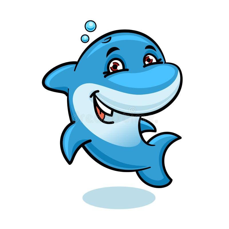 Golfinho de bottlenose atlântico azul dos desenhos animados brincalhão ilustração royalty free