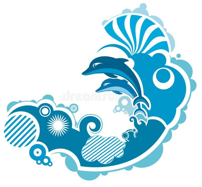 Golfinho de salto ilustração royalty free