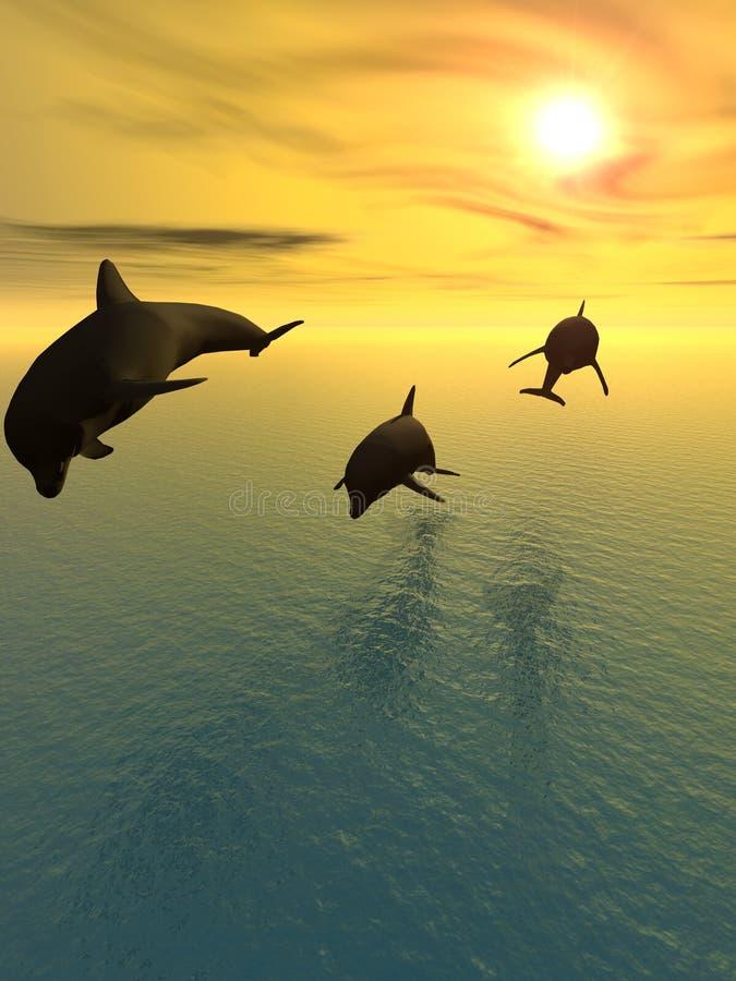 Golfinho e por do sol ilustração do vetor