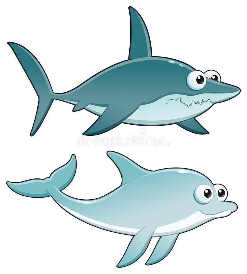 Golfinho e tubarão. ilustração royalty free