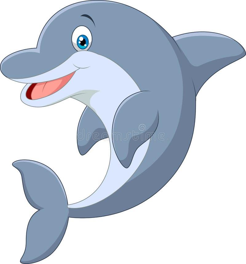 Golfinho ereto dos desenhos animados ilustração do vetor