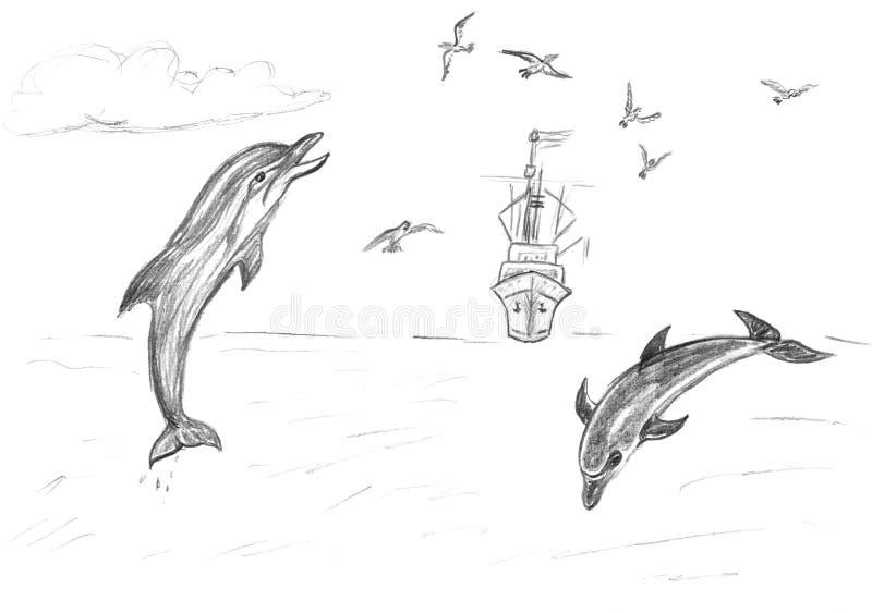 Download Golfinhos e navio no mar ilustração stock. Ilustração de selvagem - 12809012
