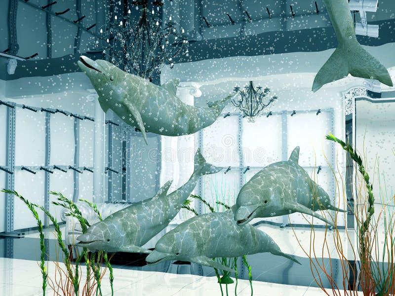 Golfinhos na loja ilustração stock
