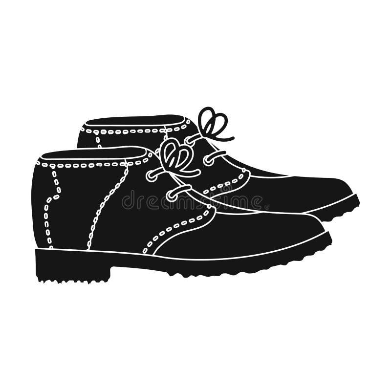 Golfistów buty Kij golfowy pojedyncza ikona w czerń stylu symbolu zapasu ilustraci wektorowej sieci royalty ilustracja