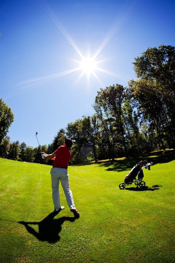 golfistów potomstwa męscy czerwoni koszulowi biały fotografia stock