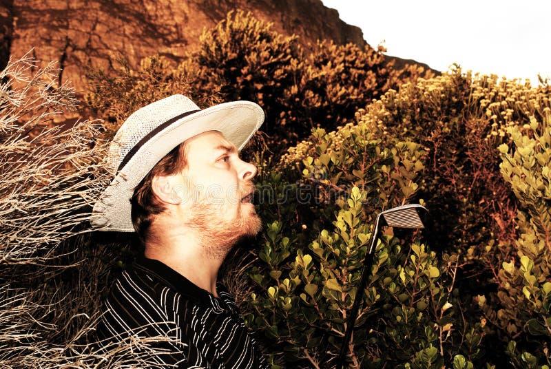Golfista dado una sacudida eléctrica en el arbusto. imagen de archivo libre de regalías
