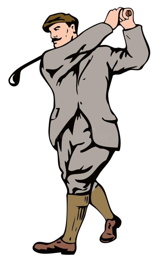 golfista de los años 30 que junta con te apagado ilustración del vector