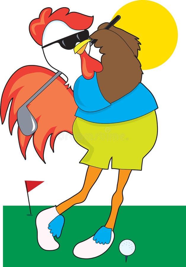 Golfista del gallo stock de ilustración