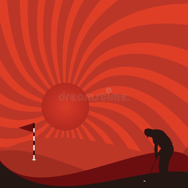 Golfista en la noche stock de ilustración