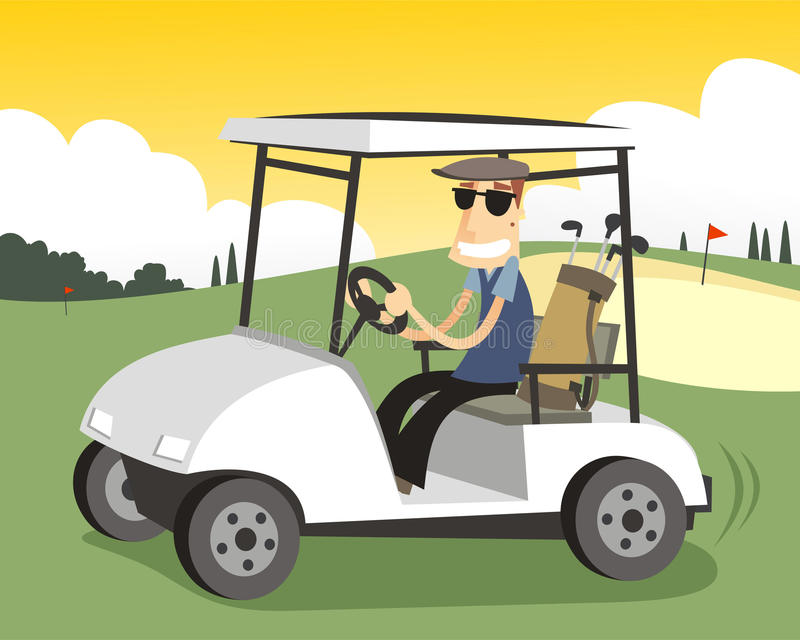 Golfista jedzie golfową furę royalty ilustracja