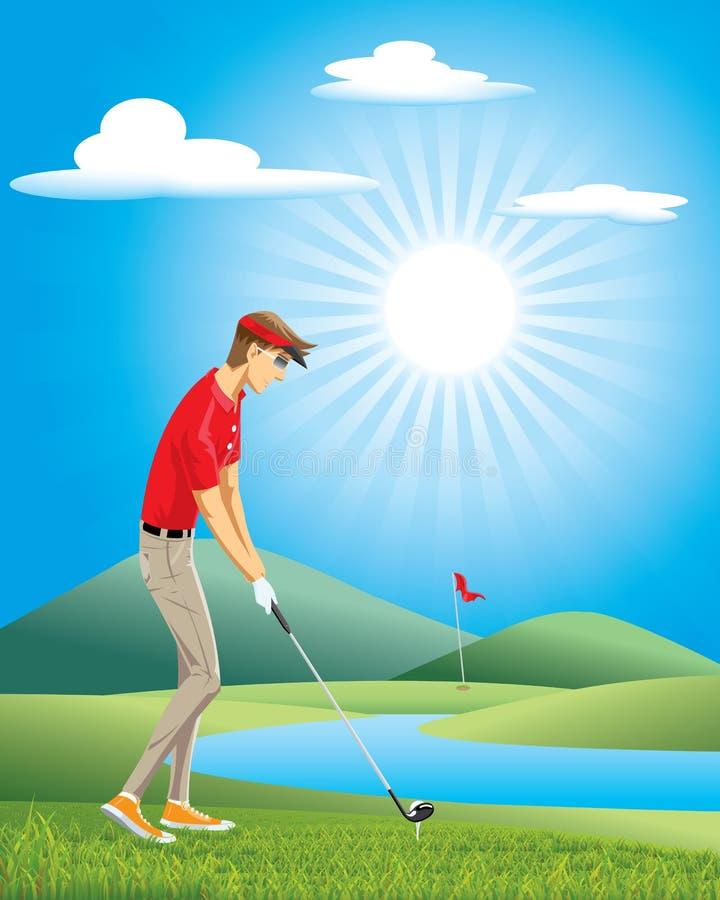Golfista kreskówki wektorowy mężczyzna bawić się golfa royalty ilustracja