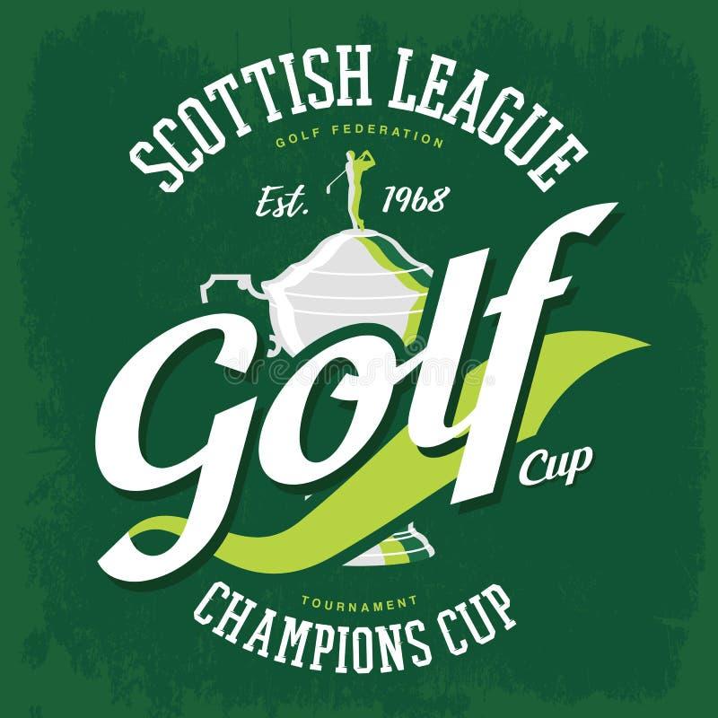 Golfista na górze golfowego filiżanki lub trofeum koszulki druku ilustracji