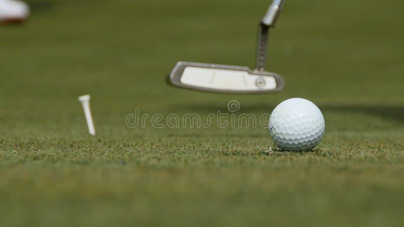 Golfista profesional que pone la bola en el agujero Pelota de golf por el borde del agujero con el jugador en fondo en un día sol imagenes de archivo