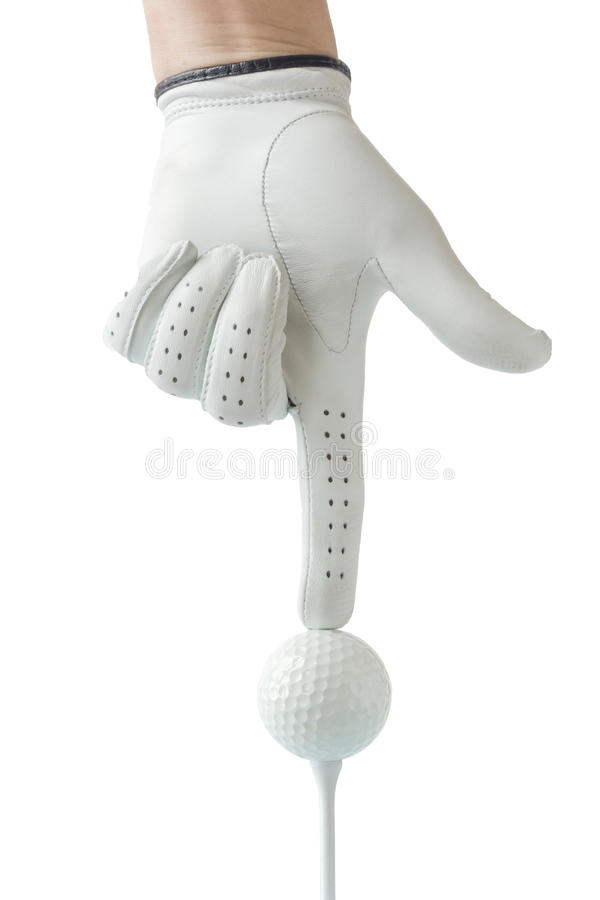 Golfista ręka w białej rękawiczkowej akci z piłką golfową na trójniku z whi zdjęcie stock