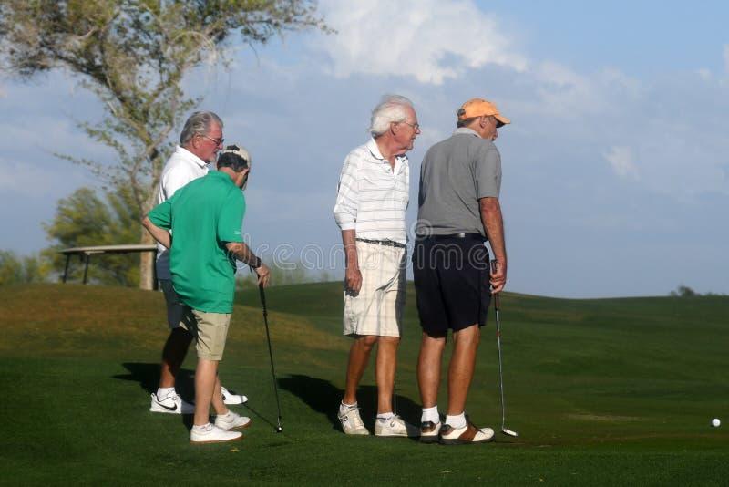 Golfistas de sexo masculino en putting green foto de archivo libre de regalías