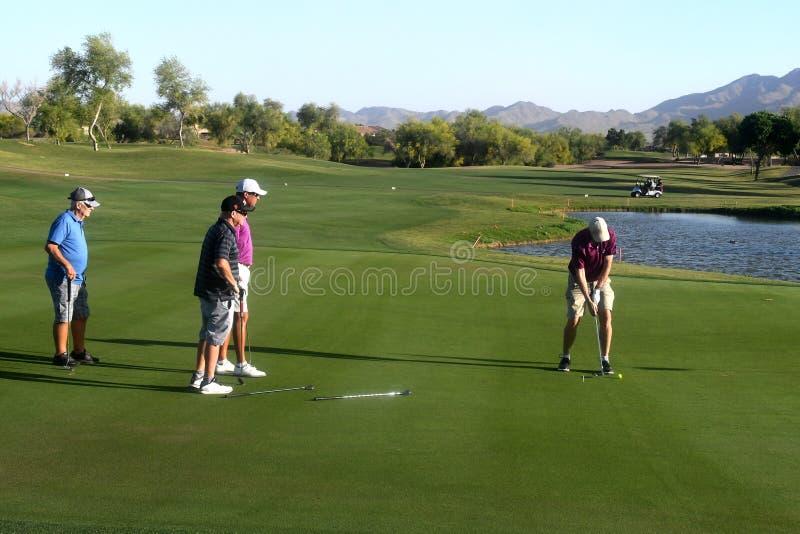 Golfistas de sexo masculino en putting green imagen de archivo libre de regalías