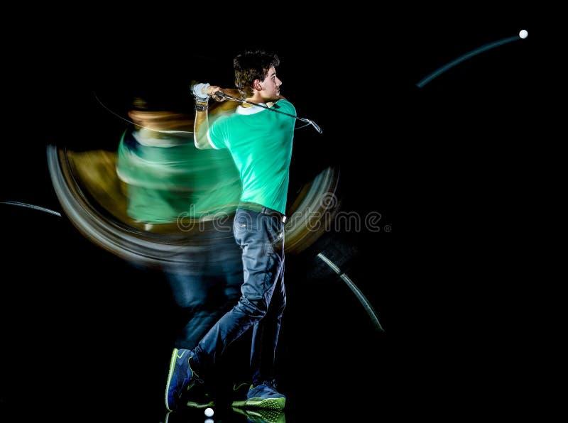 Golfisty m??czyzna gra? w golfa golf hu?tawk? odizolowywa? czarnego t?a wielosk?adnikowego ujawnienie zdjęcie royalty free