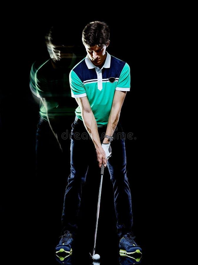 Golfisty m??czyzna gra? w golfa golf hu?tawk? odizolowywa? czarnego t?a wielosk?adnikowego ujawnienie obrazy stock