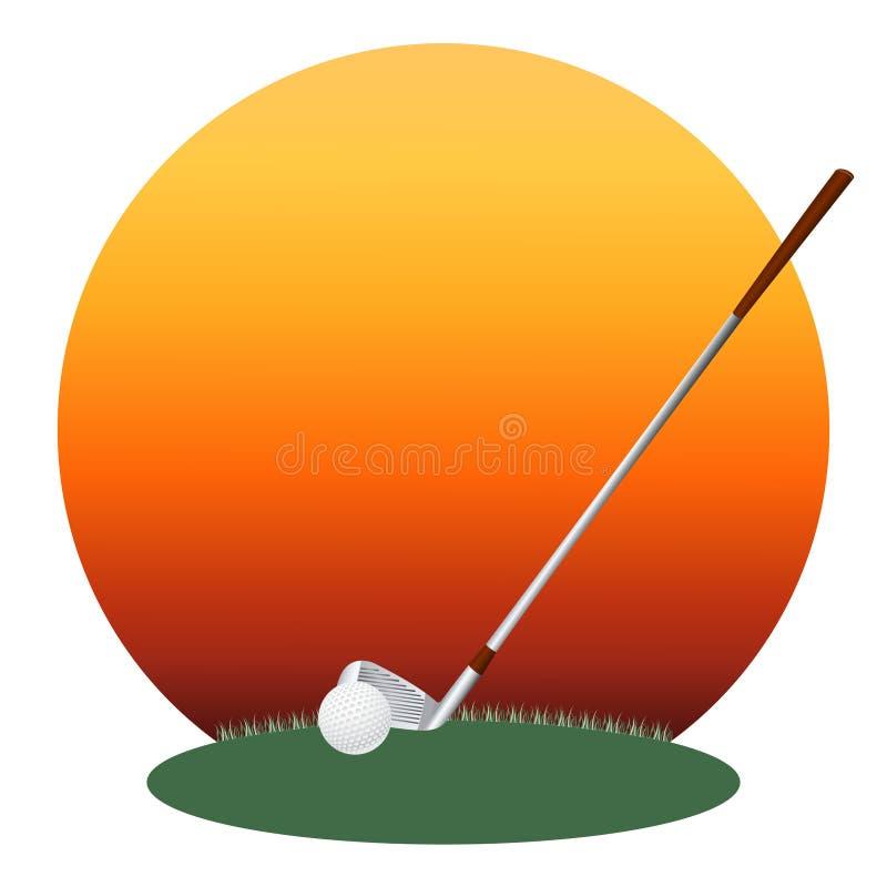Golfklubb och en klumpa ihop sig royaltyfri illustrationer