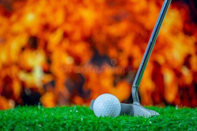Golfklubb och golfboll p? gr?s arkivbild